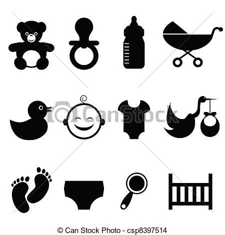Baby related icon set. Baby and newborn icon set eps ... Free Baby Related Clipart