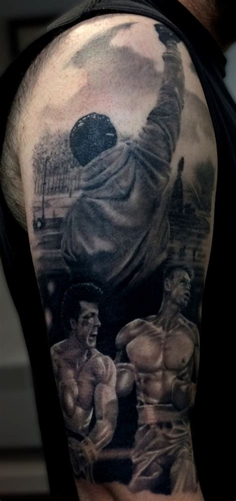 stallone tattoo rocky balboa themed sleeve rocky