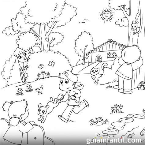 dibujos de ni os jugando para colorear az dibujos para colorear dibujo para colorear de ni 241 os jugando en primavera