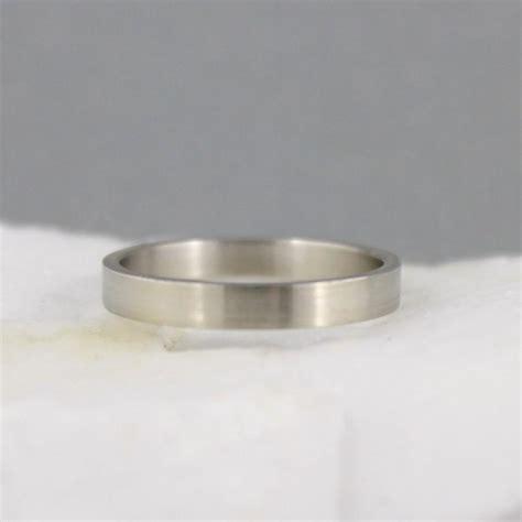 3mm 14k white gold wedding band unisex matte finish or