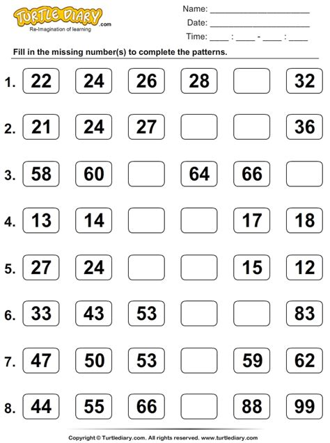 Skip Counting Number Line Worksheets by Skip Counting Turtlediary