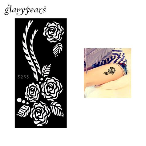 1 piece black color rose henna tattoo stencil draw on