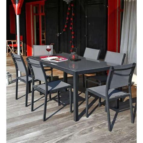 ensemble table de jardin   chaises aluminium gris achat vente salon de jardin table