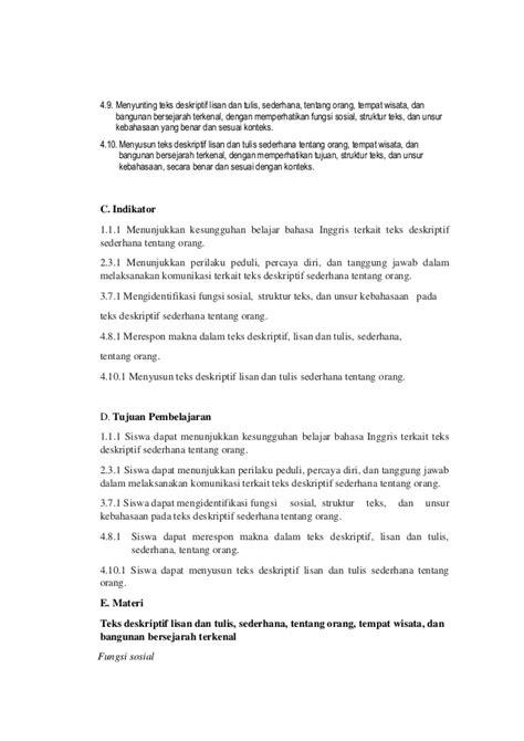 struktur teks biography bahasa inggris rpp bahasa inggris teks deskriptif kelas x kurikulum 2013