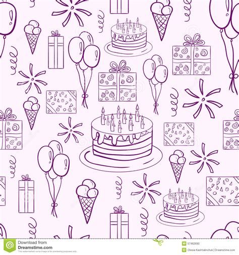 free vector birthday doodle happy birthday vector doodle seamless pattern stock vector