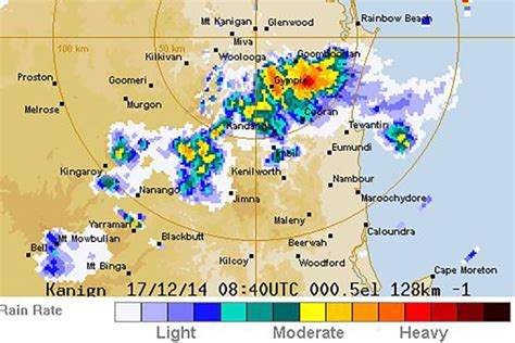bom weather bom weather radar shows a dangerous storm over gympie