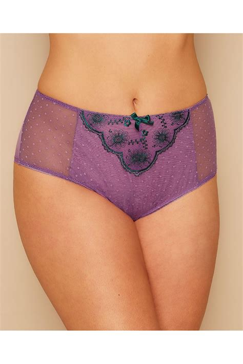 Purple & Dark Green Floral and Spot Embroidered Briefs Plus Size 14 to 28