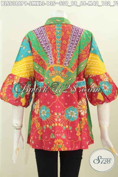 Batik Printing Bahan Halus Model Banyak Btm01011 aneka busana batik blus model kartini dengan kancing banyak pakaian batik modern klasik