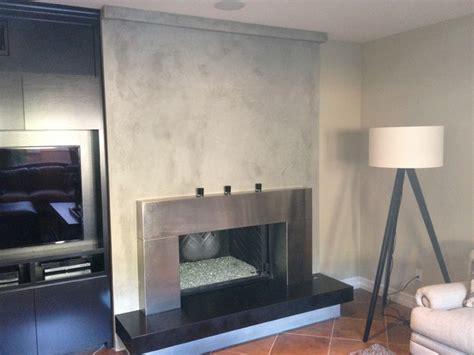 Custon Venetian Plaster Fireplace   Contemporary   Living Room   orange county   by Kodiak