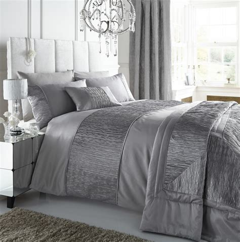 beautiful coverlets silver colour stylish textured faux silk duvet cover