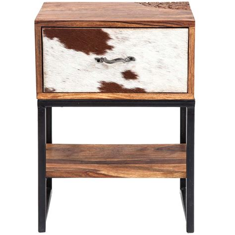 rodeo cowhide wooden side table bedroom company