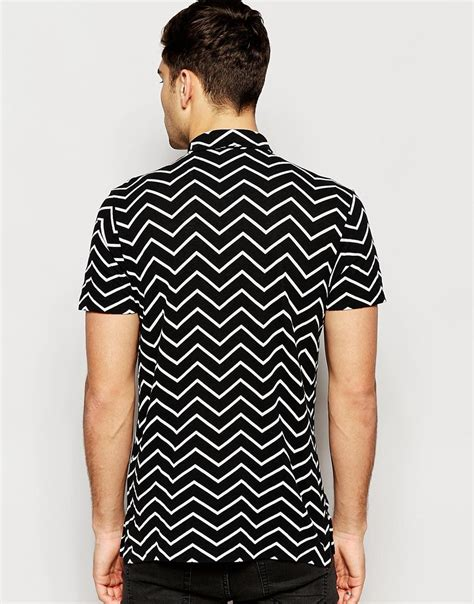 T Shirt Kaos Pria Zag Hexa polo ralph polo shirt with zig zag print regular fit in black for lyst