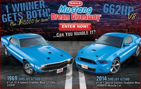 Shelby Gt Giveaway - two shelby gt500 s plus 50 000 for taxes