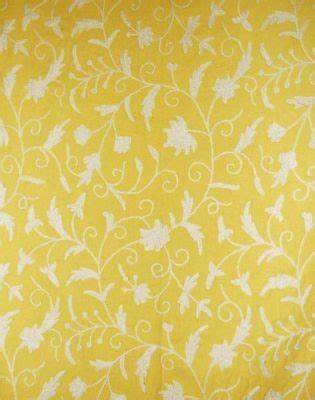 yellow and white upholstery fabric cotton crewel embroidered upholstery fabric jacobean white