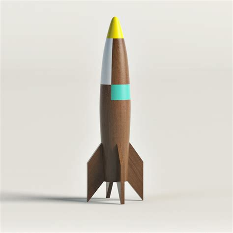 How To Make A 3d Rocket Out Of Paper - wooden rocket ship 3d model