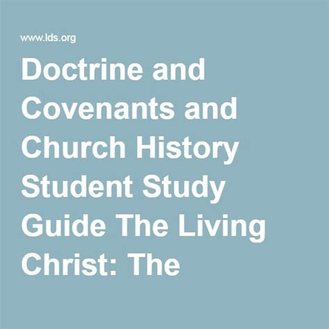 doctrine and covenants section 89 doctrine and covenants and church history student study