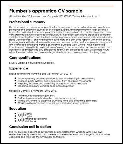 Plumber apprentice CV sample   MyperfectCV.