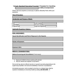 operation template sop template standard operating procedure template free