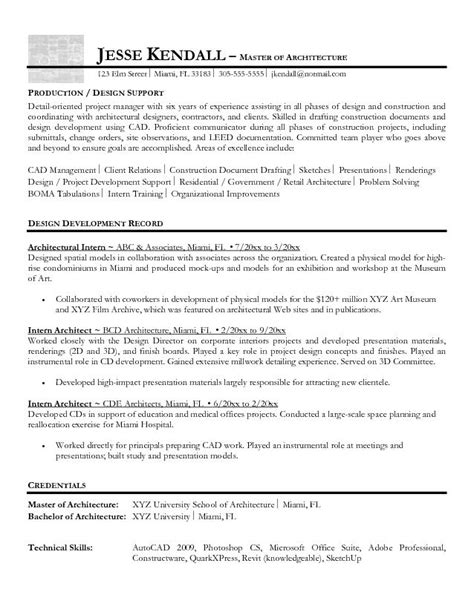 Best Resume Sle For Intern Exle Intern Architect Resume Free Sle