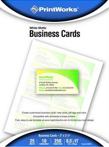 burlington business cards template 00472 printworks matte white business cards 250 count 00472