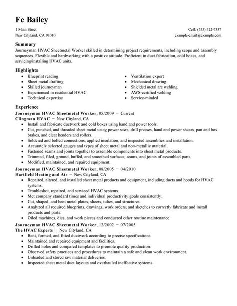 hvac resume exles best journeymen hvac sheetmetal workers resume exle