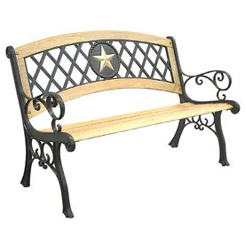 texas bench lowes garden treasures salem texas star wood bench with