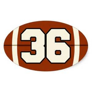 Number 36 football sticker zazzle