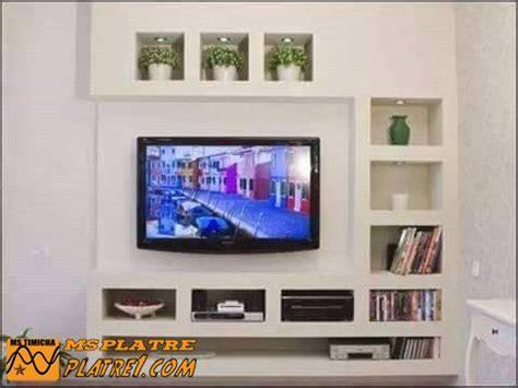 Livingroom Cafe meuble tv en placoplatre decoration platre plafond