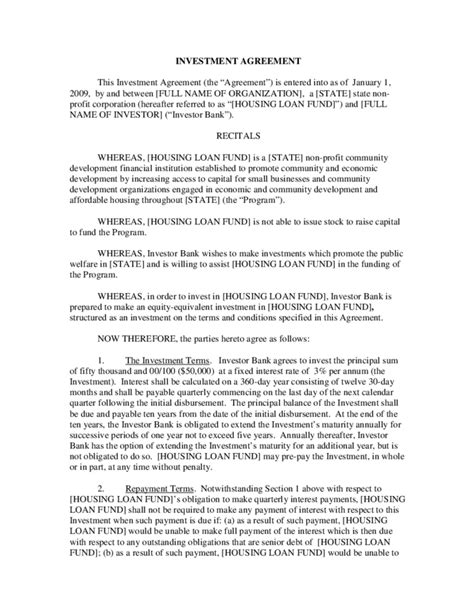 investor contract template free investment agreement free
