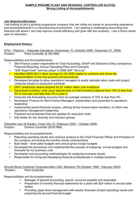 Plant Controller Sle Resume by Controller Resume Templates For Free Formtemplate