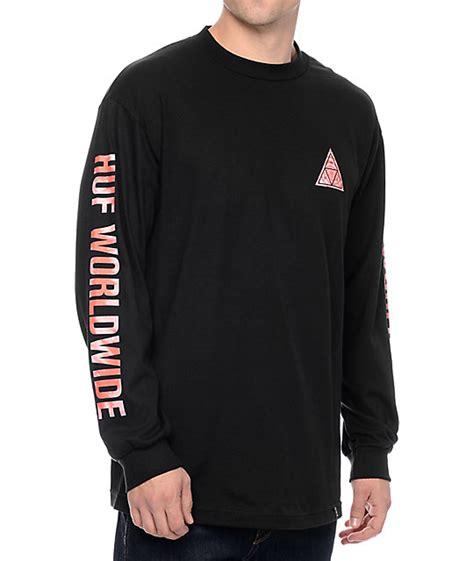 huf triangle tie dye black sleeve t shirt