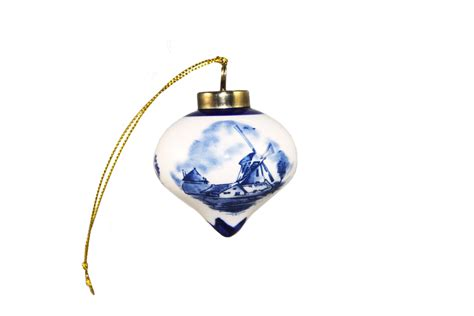 christmas ornaments delft blue and white top shaped ornament with windmill design ornaments special editions