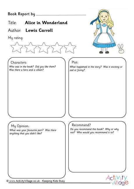 alice in wonderland printable activity sheets alice in wonderland book report