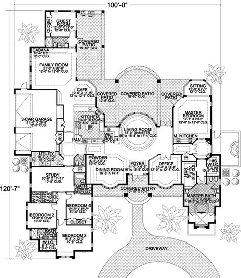 5 bedroom one story house plans contemporary style house plans 5318 square foot home 1