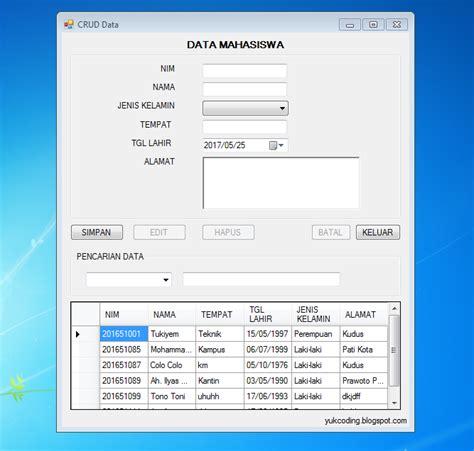 membuat aplikasi crud dengan vb net dan database microsoft tutorial source code crud searching data dengan vb net