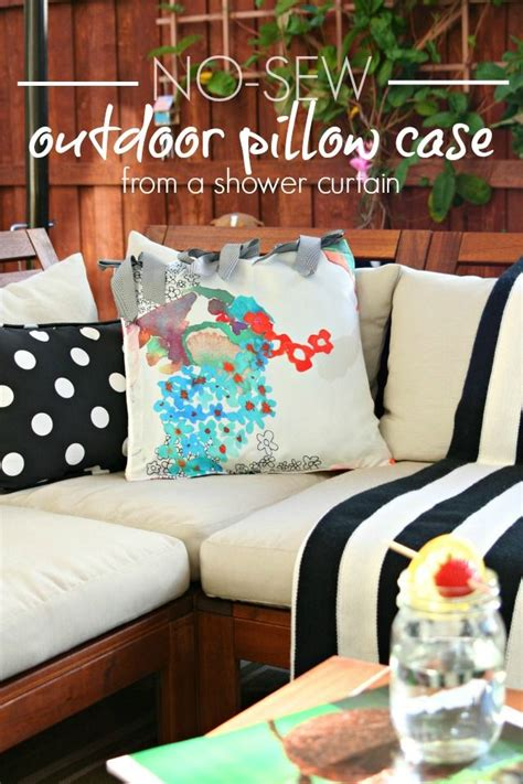 no sew outdoor curtains diy no sew outdoor pillow case using an old shower