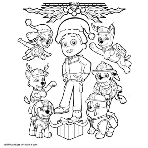 christmas coloring pages paw patrol christmas coloring pages paw patrol