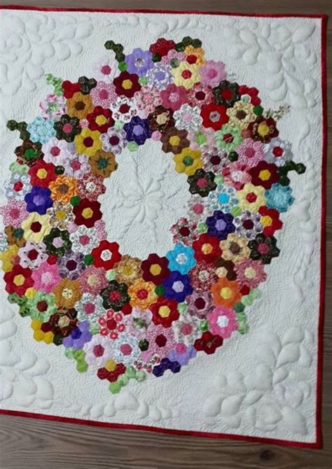 Hexagon Shapes For Patchwork - hexagon wreath quilt pinteres