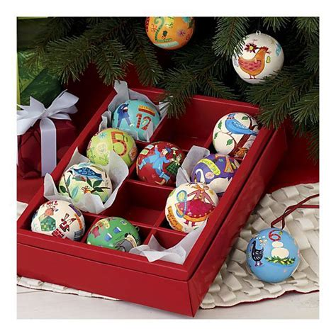 crate barrel 12 days of christmas hand painted ornaments