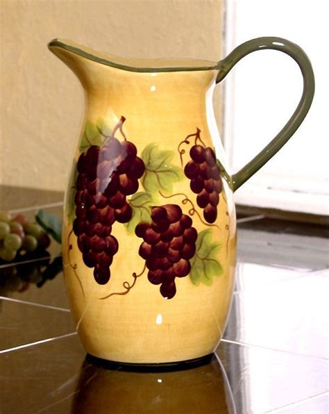 Design For Kitchen Canisters Ceramic Ideas Grape Kitchen Items Ceramic Water Pitcher Grape Decor The Grapes Been Delicate