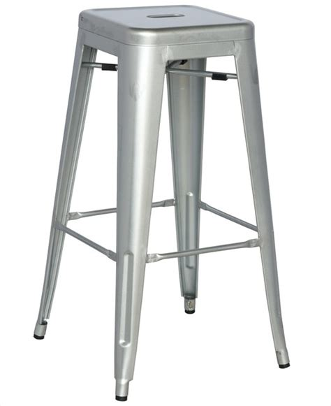 alfresco galvanized steel bar stool in shiny silver set