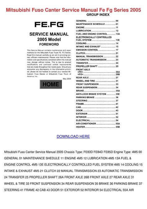 free car repair manuals 1988 mitsubishi truck electronic toll collection mitsubishi fuso canter service manual fe fg s by lupejensen issuu