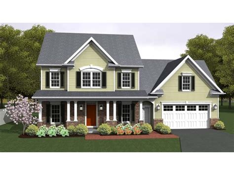colonial house plans with portico three bedroom colonial with cordial front porch hwbdo76661
