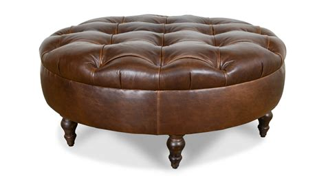 Cococohome Chesterfield Round Leather Ottoman Made In Usa Leather Hassock Ottoman