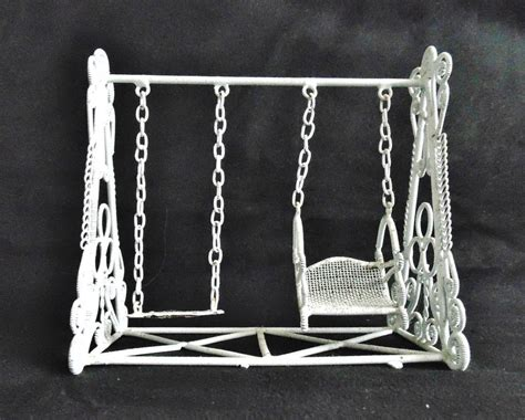 doll swing set vintage doll house swing set white curled wire wicker