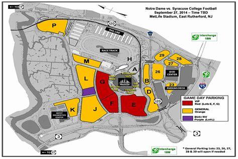 metlife stadium parking map notre dame football 2014 gameweek central und