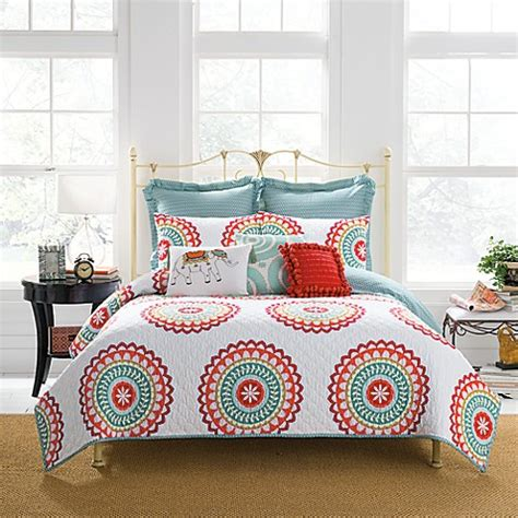 bungalow comforter anthology bungalow reversible quilt in coral white bed