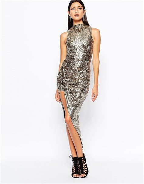 L Dress by Club L Club L Premium Sequin High Neck Ruched Side Dress At Asos