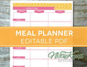 Editable Menu Planner Template by Menu Plan Weekly Meal Planning Template By Perennialplanner