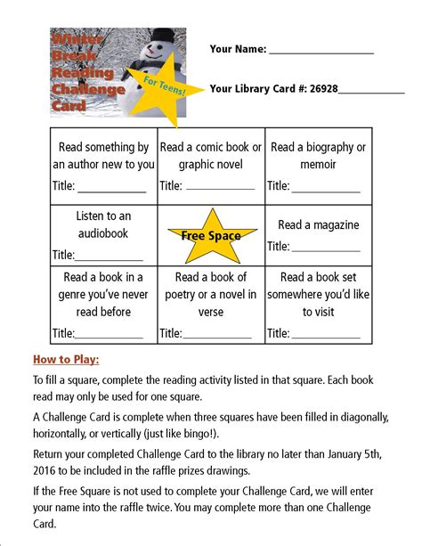 reading challenge cards winter reading challenge card for corvallis